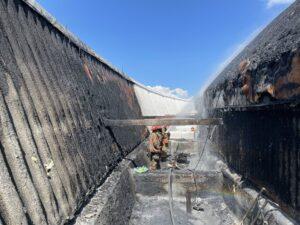 L'incendio del Superdome spento dai pompieri (Crediti: NOLA Ready)